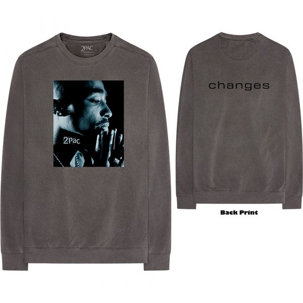 Tupac Mens Long Sleeved T-Shirt: Changes Side Photo (Back Print) (XX-Large)