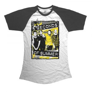 5 Seconds of Summer Ladies Raglan T-Shirt: Splatter (XX-Large)