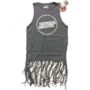 5 Seconds of Summer Ladies T-Shirt Dress: Derping Stamp Vintage (Tassels) (XX-Large)