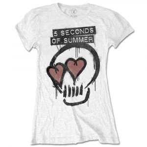 5 Seconds of Summer Ladies T-Shirt: Heart Skull (XX-Large)