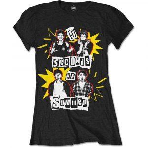 5 Seconds of Summer Ladies T-Shirt: Punk Pop Photo (X-Large)