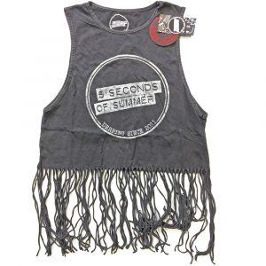 5 Seconds of Summer Ladies T-Shirt Vest: Derping Stamp Vintage (Tassels) (XX-Large)