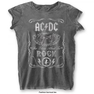 AC/DC Ladies T-Shirt: Cannon Swig (Burn Out) (XX-Large)