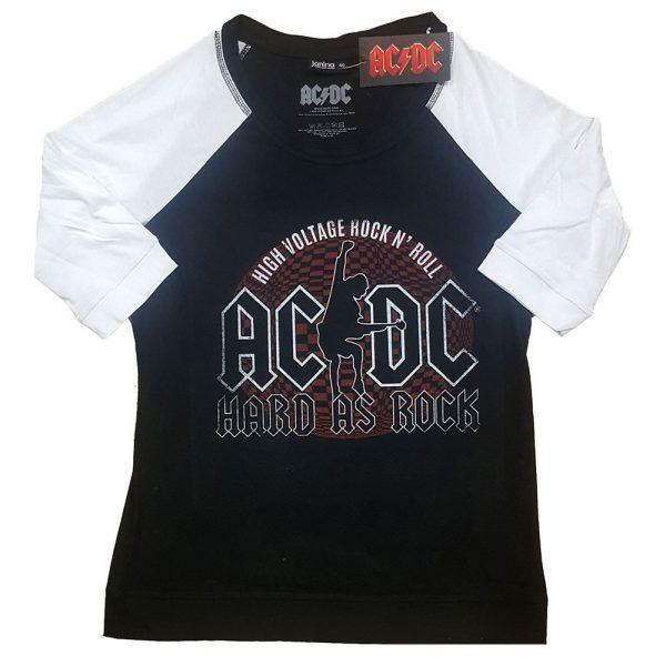 AC/DC Ladies Raglan T-Shirt: Hard As Rock (XXXX-Large)