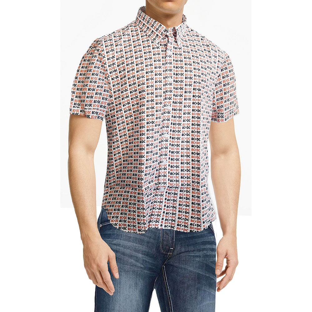 AC/DC Mens Casual Shirt: Logo (All Over Print) (XX-Large)