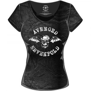 Avenged Sevenfold Ladies T-Shirt: Classic Death Bat (Acid Wash)