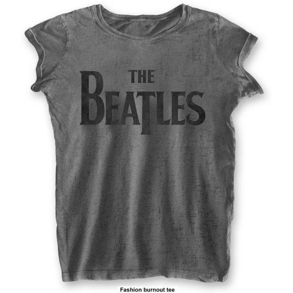 The Beatles Ladies T-Shirt: Drop T Logo (Burn Out) (XX-Large)