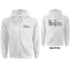 The Beatles Ladies Zipped Hoodie: Drop T Logo (Back Print) (XX-Large)