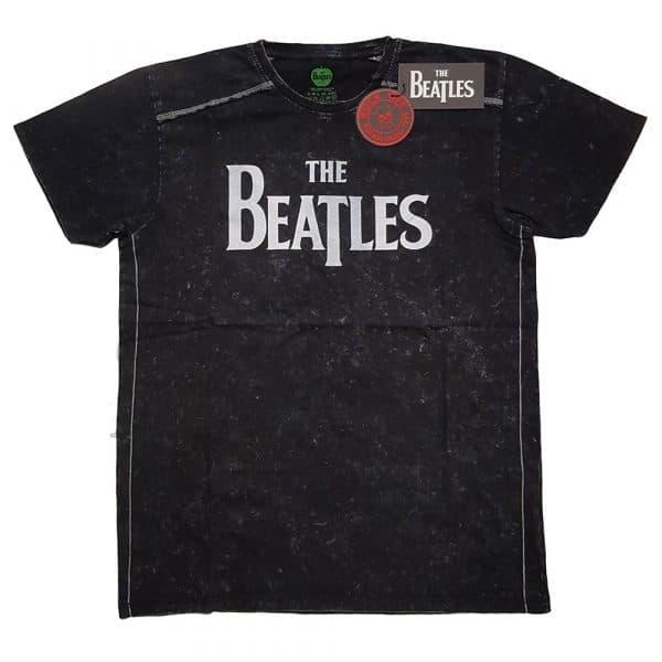 The Beatles Mens T-Shirt (Snow Wash): Drop T Logo (XX-Large)