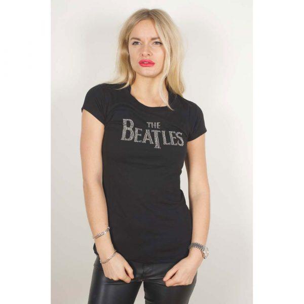 The Beatles Ladies Fashion T-Shirt: Drop T Logo (Diamante) (X-Large)
