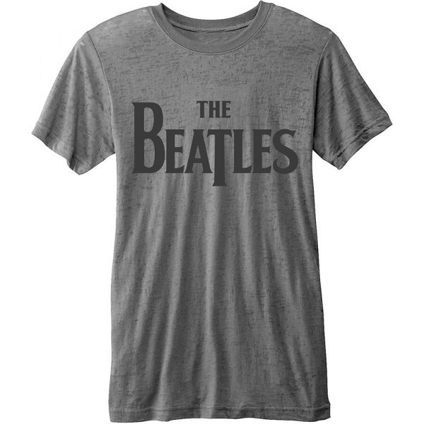 The Beatles Mens Fashion T-Shirt: Drop T Logo with Burn Out Finishing (XX-Large)