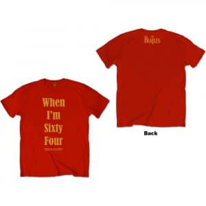 The Beatles Mens T-Shirt: When I'm Sixty Four (Back Print) (XX-Large)