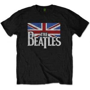 The Beatles Mens T-Shirt: Drop T Logo & Vintage Flag (XX-Large)