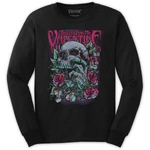 Bullet For My Valentine Mens Long Sleeved T-Shirt: Skull Red Eyes (XX-Large)