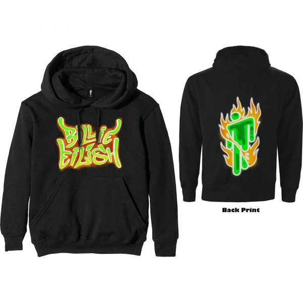 Billie Eilish Mens Pullover Hoodie: Airbrush Flames Blohsh (Back Print) (XX-Large)