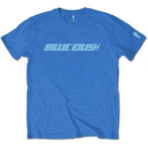 Billie Eilish Mens T-Shirt: Blue Racer Logo (Sleeve Print) (XX-Large)