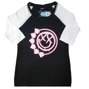 Blink-182 Ladies Raglan T-Shirt: Six Arrow Smiley (XXXX-Large)