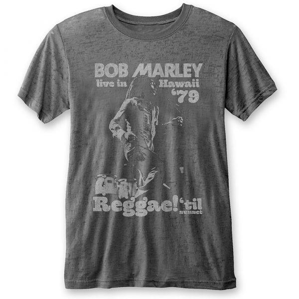 Bob Marley Mens T-Shirt: Hawaii (Burn Out) (XX-Large)