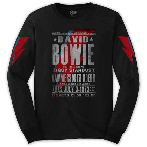 David Bowie Mens Long Sleeved T-Shirt: Hammersmith Odeon (Arm Print) (XX-Large)