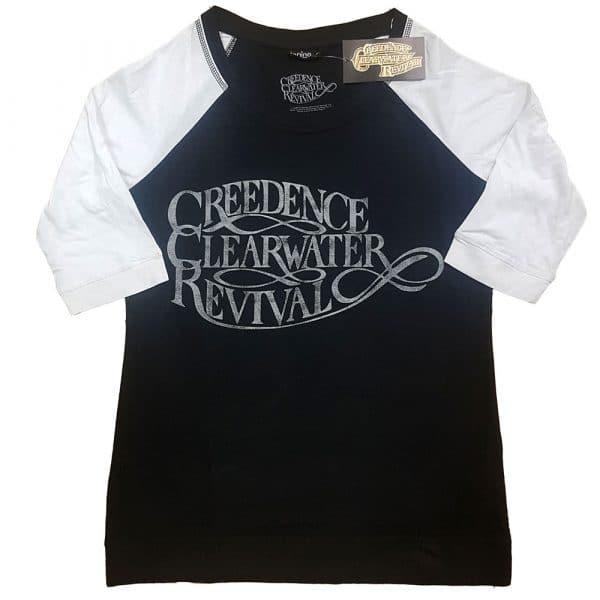 Creedence Clearwater Revival Ladies Raglan T-Shirt: Vintage Logo (XXXX-Large)