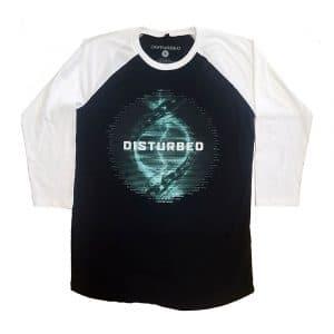 Disturbed Mens Raglan T-Shirt: Binary (Ex-Tour) (Medium)