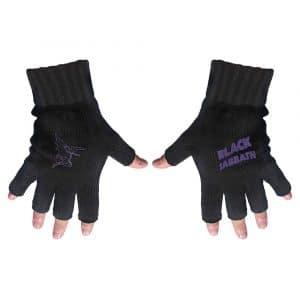 Black Sabbath Unisex Fingerless Gloves: Purple Logo & Devil