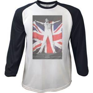 Freddie Mercury Mens Raglan T-Shirt: Flag (XX-Large)