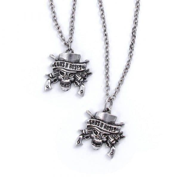 Guns N' Roses Necklace & Bracelet Set: Skull