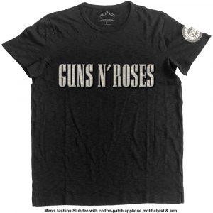 Guns N' Roses Mens Fashion T-Shirt: Logo & Bullet Circle (Applique Motifs) (XX-Large)