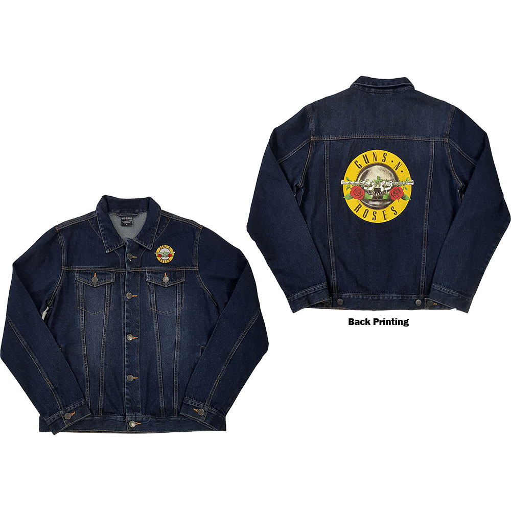 Guns N' Roses Mens Denim Jacket: Classic Logo (Back Print) (XX-Large)
