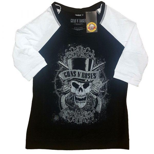 Guns N' Roses Ladies Raglan T-Shirt: Faded Skull (XXXX-Large)