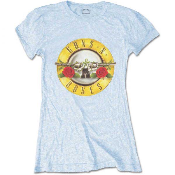 Guns N' Roses Ladies Blue T-Shirt: Classic Bullet Logo (Skinny Fit) (XX-Large)