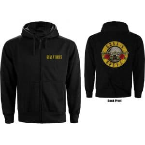 Guns N' Roses Ladies Zipped Hoodie: Classic Logo (Back Print) (XX-Large)