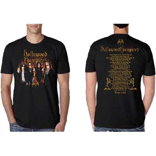 Hollywood Vampires Mens T-Shirt: Photo Vampires 2018 Dates Back (Ex Tour/Back Print) (XX-Large)
