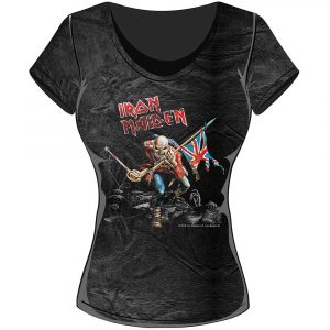 Iron Maiden Ladies T-Shirt: Trooper (Acid Wash)