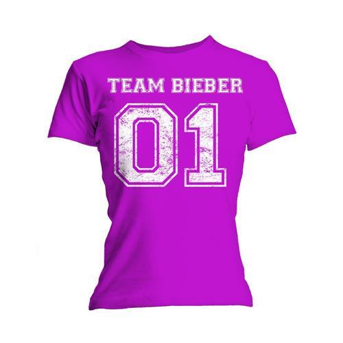 Justin Bieber Ladies T-Shirt: Team Bieber (Skinny Fit) (X-Large)