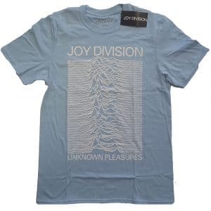 Joy Division Mens T-Shirt: Unknown Pleasures White On Blue (XX-Large)