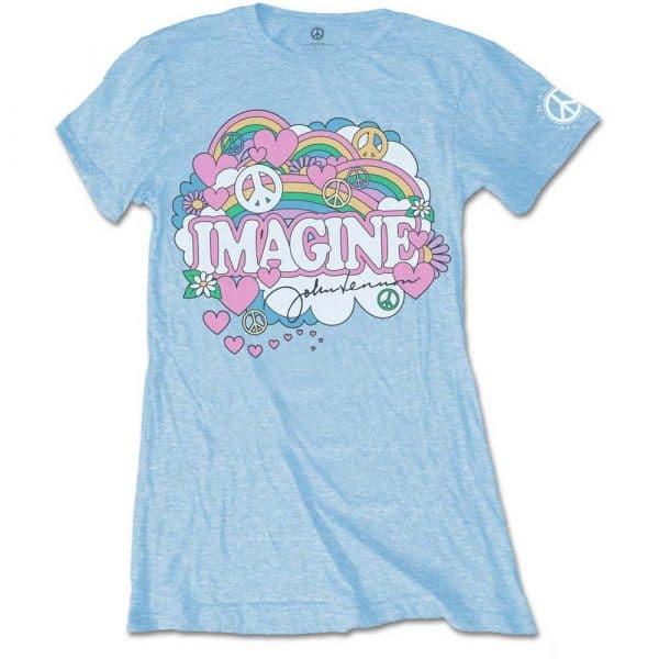 John Lennon Ladies Light Blue T-Shirt: Rainbows