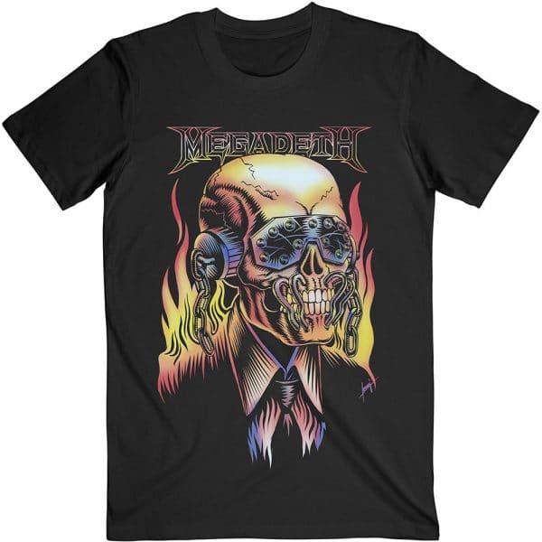 Megadeth Mens T-Shirt: Flaming Vic (XX-Large)