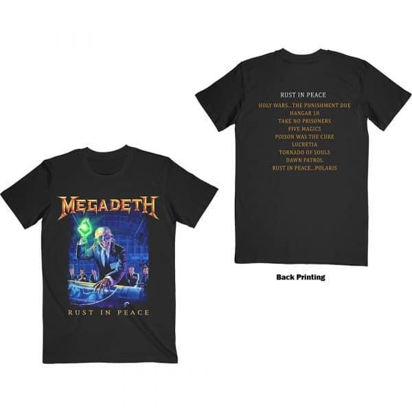 Megadeth Mens T-Shirt: Rust In Peace Tracklist (Back Print) (XX-Large)