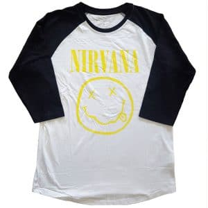 Nirvana Mens Raglan T-Shirt: Yellow Smiley (X-Large)
