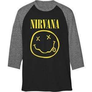 Nirvana Mens Raglan T-Shirt: Yellow Smiley (XX-Large)