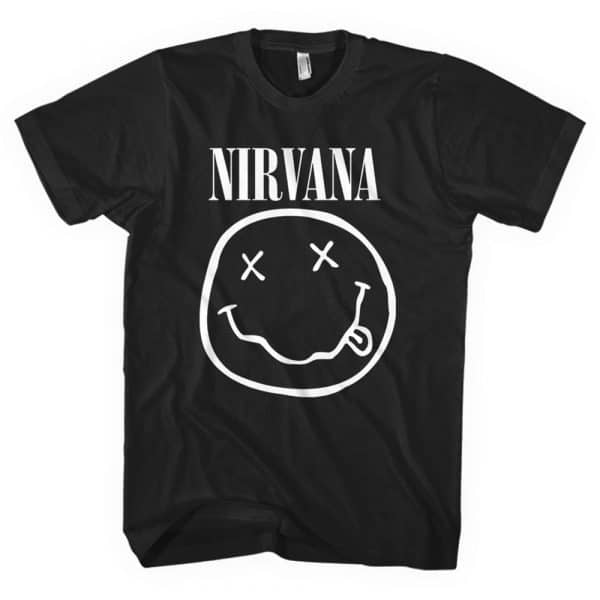 Nirvana Mens T-Shirt: White Smiley (XX-Large)