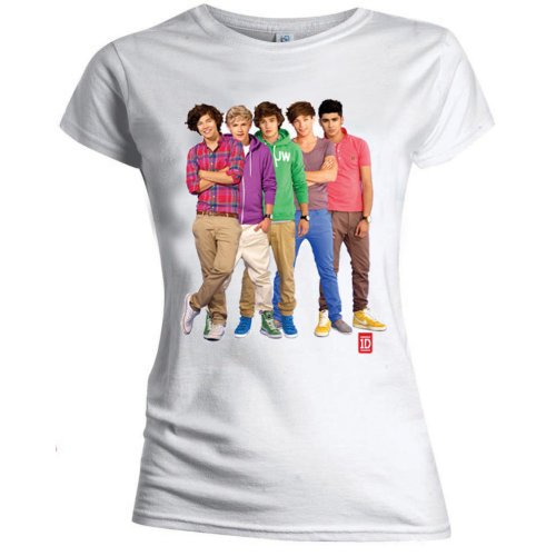 One Direction Ladies T-Shirt: Group Standing Colour (Skinny Fit) (X-Large)