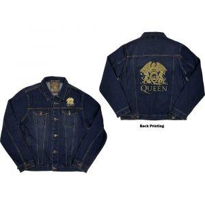 Queen Mens Denim Jacket: Classic Crest (Back Print) (XX-Large)