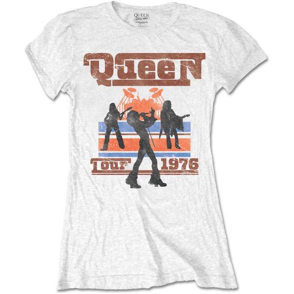 Queen Ladies T-Shirt: 1976 Tour Silhouettes