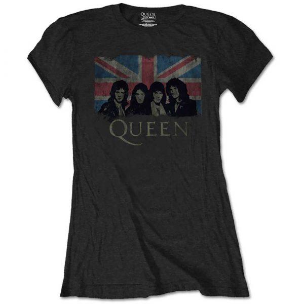 Queen Ladies T-Shirt: Union Jack Vintage (Retail Pack) (XX-Large)