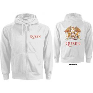 Queen Ladies Zipped Hoodie: Classic Crest (Back Print) (XX-Large)