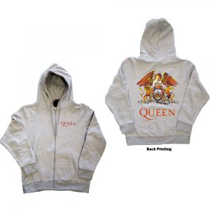 Queen Mens Zipped Hoodie: Classic Crest (Back Print) (XXXX-Large)