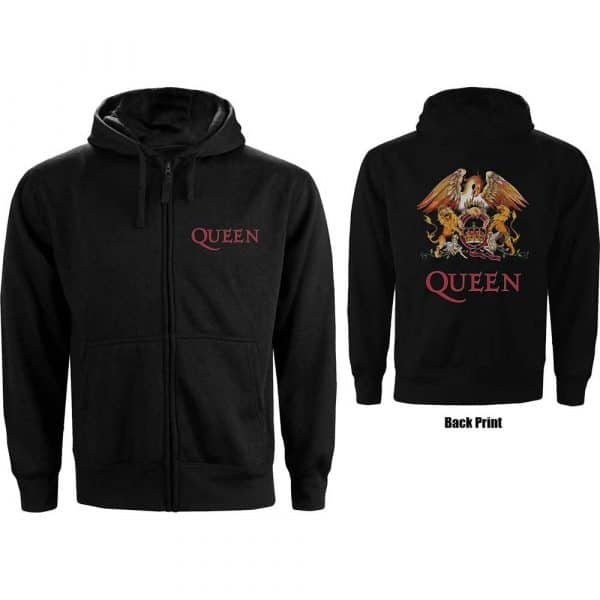 Queen Mens Zipped Hoodie: Classic Crest (Back Print) (XXX-Large)